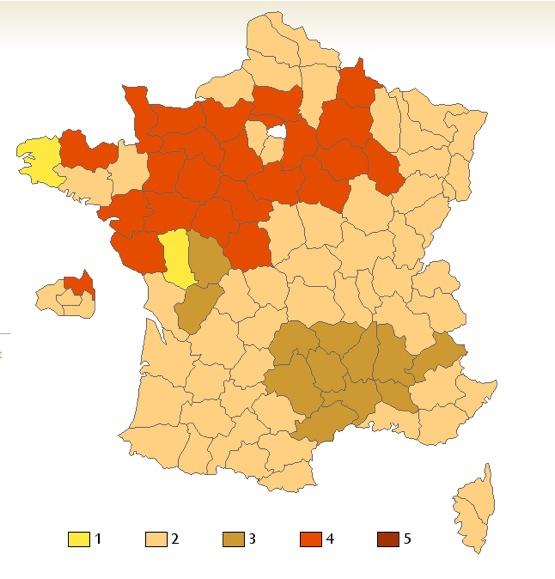 mapa de bicos en francia
