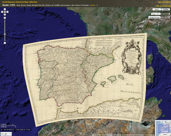 península ibérica 1701 da colección rumsey sobre gmaps
